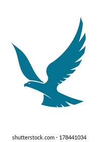 Graceful flying eagle logo soaring high in the sky with outspread wings, silhouette