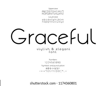 Graceful font. Vector alphabet letters and numbers. Typeface design.