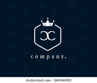 Graceful letter CC, C luxury royal style crown logo. Elegant emblem and hexagon shape. The vintage symbol for book design, brand name, business card, restaurant, boutique, hotel, cafe, identity, badge