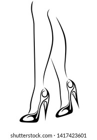 Graceful outline of graceful female feet in stylized shoes with high heels, black over white vector artwork