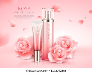 Graceful rose skin care set with flowers and flying petals in 3d illustration