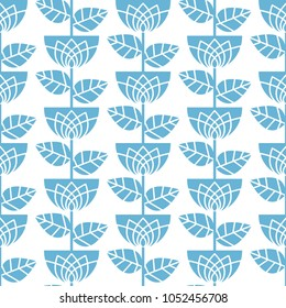Graceful seamless floral pattern. Blue flowers and leaves. Excellent illustration for printing on fabric, clothing, paper and other surfaces.