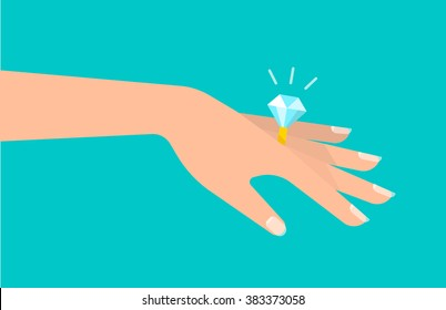 Graceful women's hand with a beautiful ring with a big shining diamond. A marriage proposal and wedding concept. Isolated vector illustration flat design.