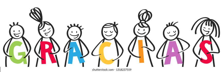 GRACIAS, group of stick figures holding colorful letters, spanish kids saying thank you