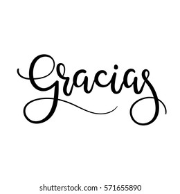 Gracias Hand Lettering Greeting Card. Thank You in Spanish. Vector Illistration. Modern Calligraphy.