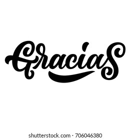 Gracias, hand lettering spanish word thank you, black brush calligraphy isolated on white background. Perfect for thanks giving cards design.