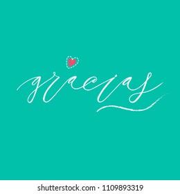 Gracias inscription design. Modern handwritten brush calligraphy. Hand drawn lettering gracias. Gracias vector illustration. Sticker for social media content, cards, invitations,  posters