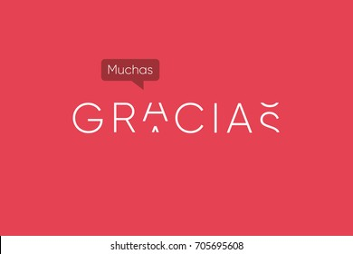 Gracias logo with capitals letters in movement. Editable vector design.