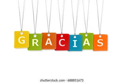 Gracias message isolated on white background