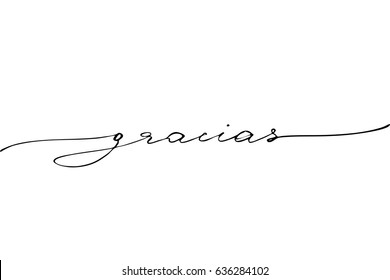Gracias spanish phrase lettering thank you in Spanish. Handwritten black text isolated on white background, vector.