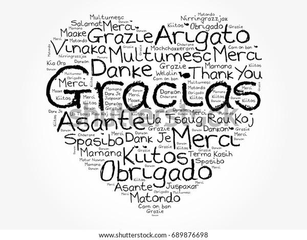 Gracias Thank You Spanish Love Heart Stock Vector (Royalty