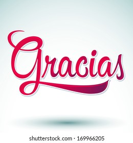 Gracias - THANK YOU spanish text - hand lettering - vector