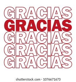 Gracias. Thank you in Spanish. vector illustration. Motivating modern prints and posters, greeting cards - red and white colors