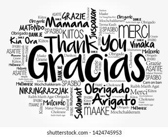 Gracias por nubes de palabras en diferentes idiomas