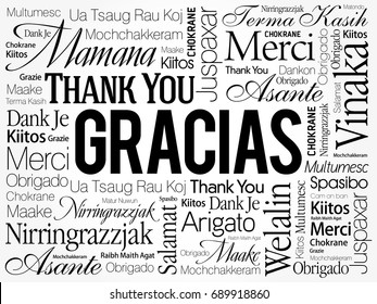 Gracias (Thank You in Spanish) Word Cloud background, all languages, multilingual for education or thanksgiving day
