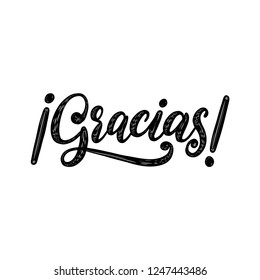 Gracias, vector hand lettering. Translation from Spanish of word Thank You. Calligraphic inscription on white background.
