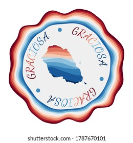 Graciosa badge. Map of the island with beautiful geometric waves and vibrant red blue frame. Vivid round Graciosa logo. Vector illustration.