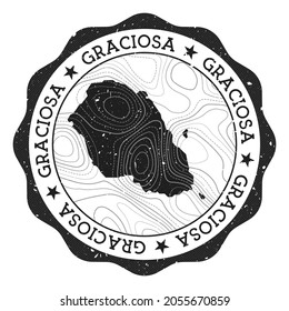 Graciosa outdoor stamp. Round sticker with map of island with topographic isolines. Vector illustration. Can be used as insignia, logotype, label, sticker or badge of the Graciosa.