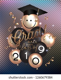 GRAD BALL PARTY with air balloons, gold serpentine and graduation cap. Vector illustration