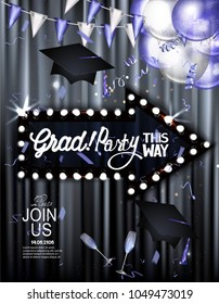 GRAD PARTY BANNER WITH THEATER CURTAINS AND VINTAGE ARROW SHAPED LIGHT FRAME . VECTOR ILLUSTRATION