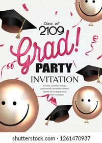 Grad party invitation card with smiling air balloons and graduation caps