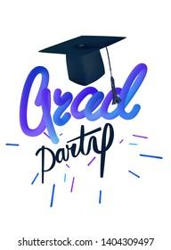 Grad party poseter with air balloons, graduation cap. Vector illustration