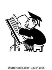 Grad Studying Big Book - Retro Clip Art Illustration