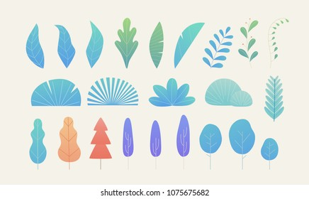 gradation fantasy color leaves source vector illustration flat design