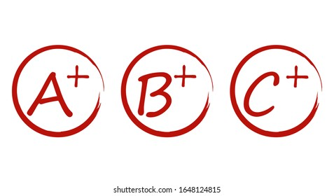 Grade A, B, C result vector icon template. Education red mark handwriting in circle