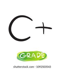 Grade C plus handwritten,vector,doodle,Illustration.
