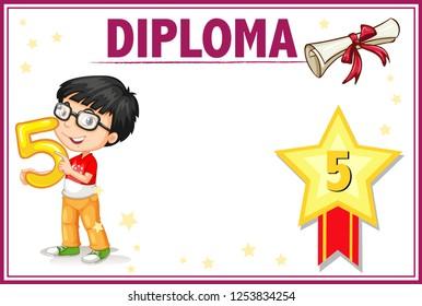 Certificate Template Kid Graduation Gown Illustration Stock Vector