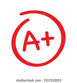 Grade result A plus. Hand drawn vector grade in red circle. Vector stock illustration.