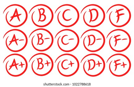 Grade results. Hand drawn grades with circles. Success. Pass the exam. Fall the exam. Vector set isolated on white background.