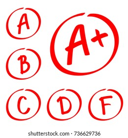 Grade results. Hand drawn vector set of grades in circle frame. Red notes.