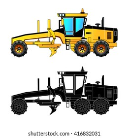 Grader. Heavy equipment and machinery, detailed vector illustration. Isolated on white. Icon. Flat style. Silhouette
