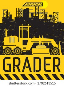 Grader working on road construction at construction site, abstract flat vector illustration