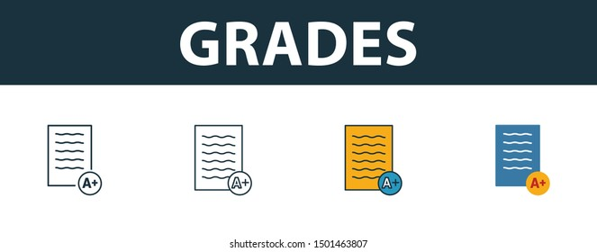 Grades icon set. Four elements in diferent styles from school icons collection. Creative grades icons filled, outline, colored and flat symbols.