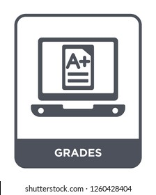 grades icon vector on white background., grades simple element illustration