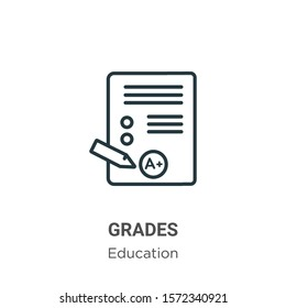 Grades outline vector icon. Thin line black grades icon, flat vector simple element illustration from editable online learning concept isolated on white background