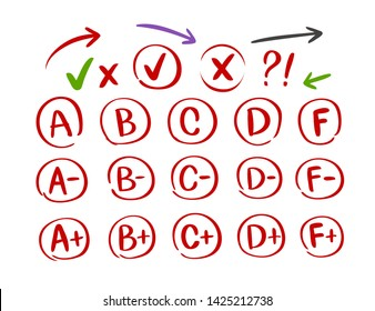 Grades results with circles, set. Hand draw vector