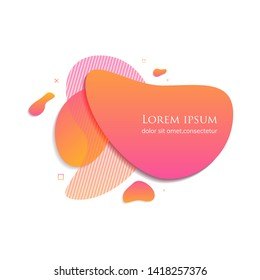 Gradient abstract banners with flowing liquid shapes. Abstract modern graphic elements. Pink and orange.  Template for the design of a logo, flyer or presentation. EPS 10