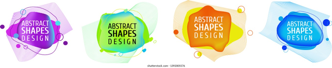Gradient abstract banners with smooth liquid shapes and lines