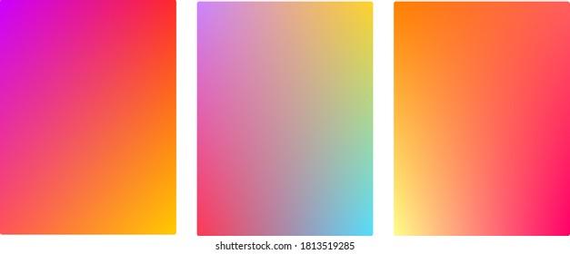 Gradient abstract colorful vector set, seamless color mesh background design. Digital graphic web design rainbow colors pattern, warm summer pop art style vertical wallpaper vectors