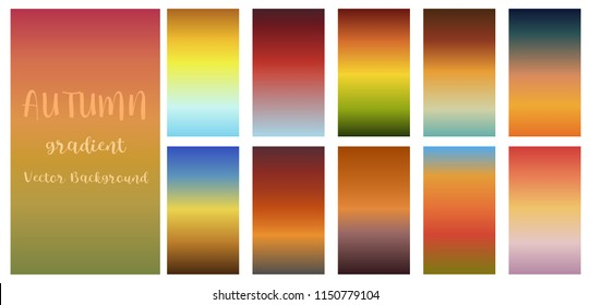Gradient Autumn Fall Halloween season theme color transitions vector template colorful seasonal background collection for graphic display design.