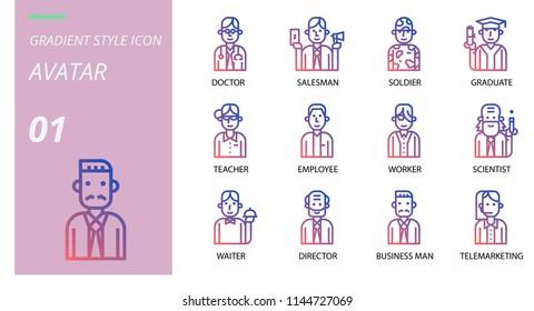 gradient avatars icon pack . Icons for avatars,doctor, saleman, solder, graduate, teacher, employee, worker, scientist, waiter, director, business man ,telemrketing.