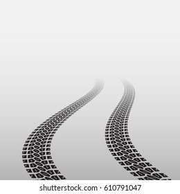 Gradient background with black wave tire track
