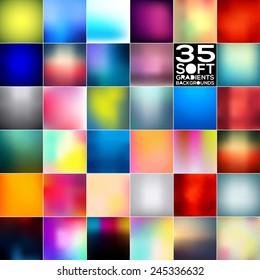 Gradient backgrounds mega bundle. Vector illustrations.
