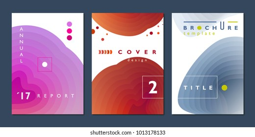 Gradient backgrounds, simple cover design set, company annual report template, vector illustration.
