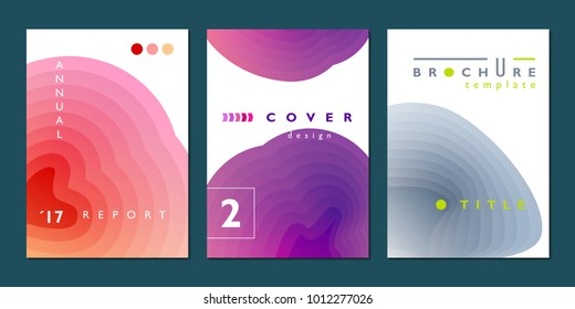 Gradient backgrouns, simple cover design set, company annual report template, vector illustration
