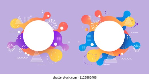 Gradient banners set - fluid color abstract geometric shapes and textures with white round badge for copy space, vector illustration for advertising or business presentation.